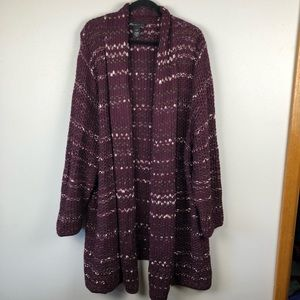 Lane Bryant Duster Cardigan sweater 25/28 burgundy
